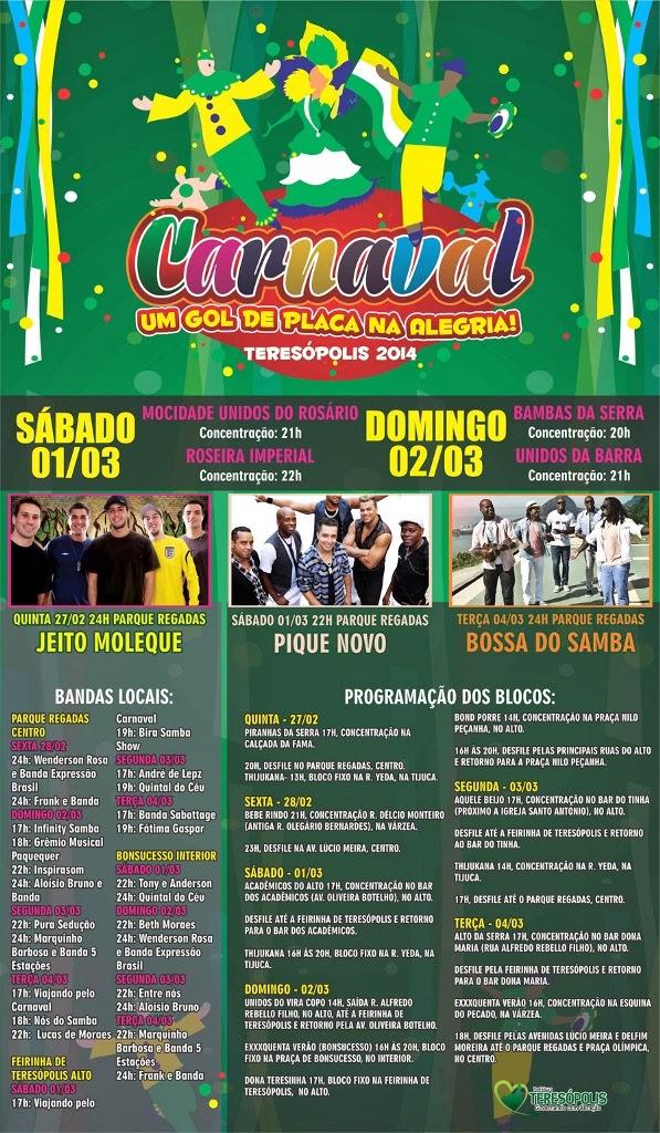Programação completa do Carnaval 2014 em Teresópolis - Terê Total