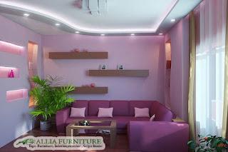 Warna tema Lilac ungu lavender di ruang tamu
