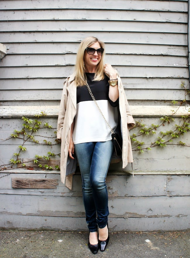 Black and White color block, Diesel Skinzee jeans, trench, kitten heels