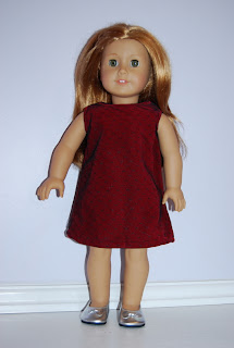 Mia s red velvet dress is made from a simple a line pattern there s