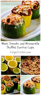 Meat, Tomato, and Mozzarella Stuffed Zucchini Cups [from KalynsKitchen.com]