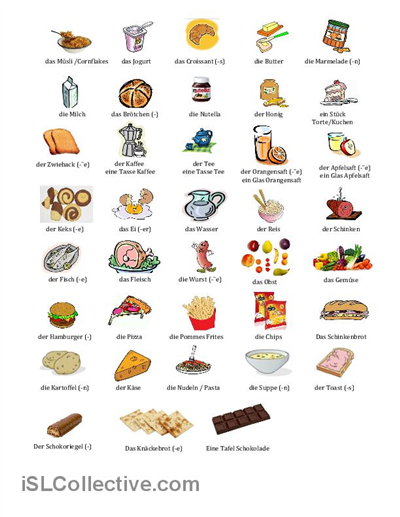 El aleman no es dificil vocabulario la comida das essen for Vocabulario cocina frances