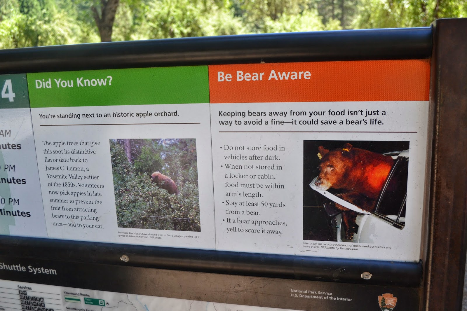Be Bear Aware sign in Curry Village, Yosemite