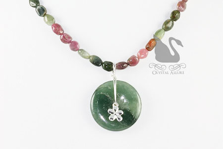 Watermelon Tourmaline Moss Agate Gemstone Necklace (N077)