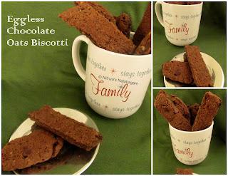 Egg-less Chocolate Oats Biscotti