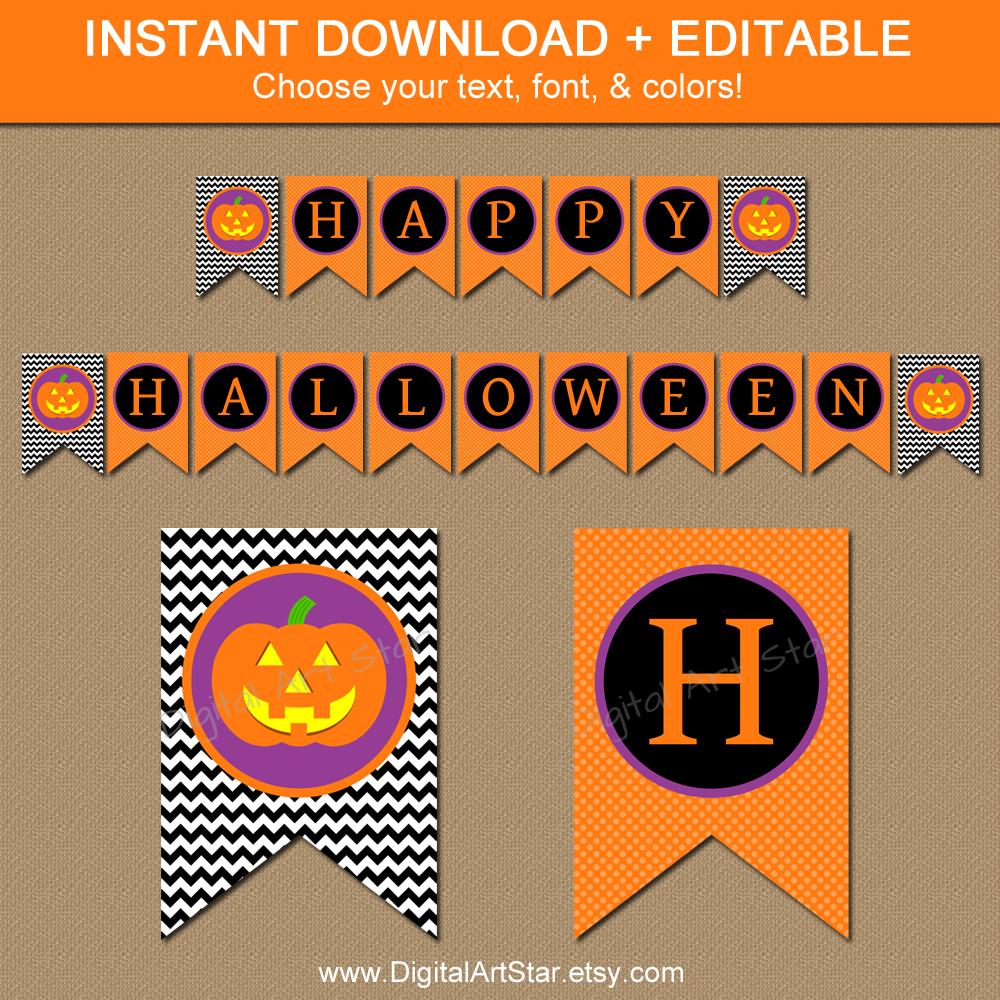 editable printable halloween pumpkin banner