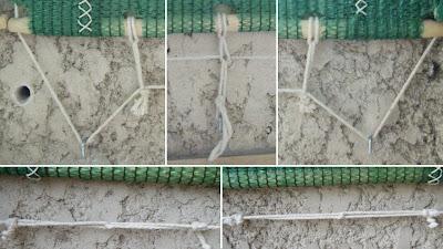 Como fixar a base do cortinado de rede sombreira e esticar