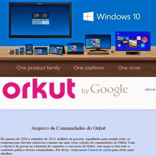 A Microsoft anunciou, durante um evento em São Francisco, o Windows 10. O Orkut saiu do ar. Agora, a antiga rede social virou um arquivo de comunidades