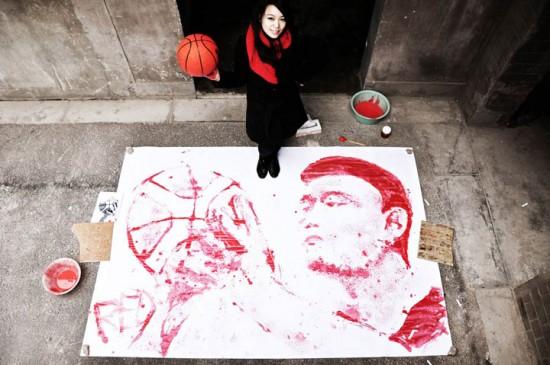 Yi Hong - Retrato de Yao Ming com uma bola de basquete