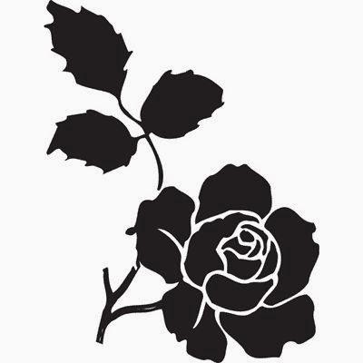 Black rose tattoo stencil