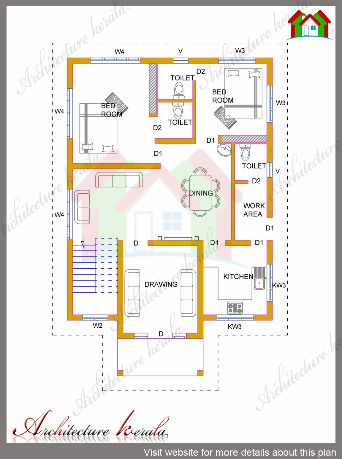 4 bhk kerala house in 1700 square feet architecture kerala for Single floor 4 bedroom house plans kerala