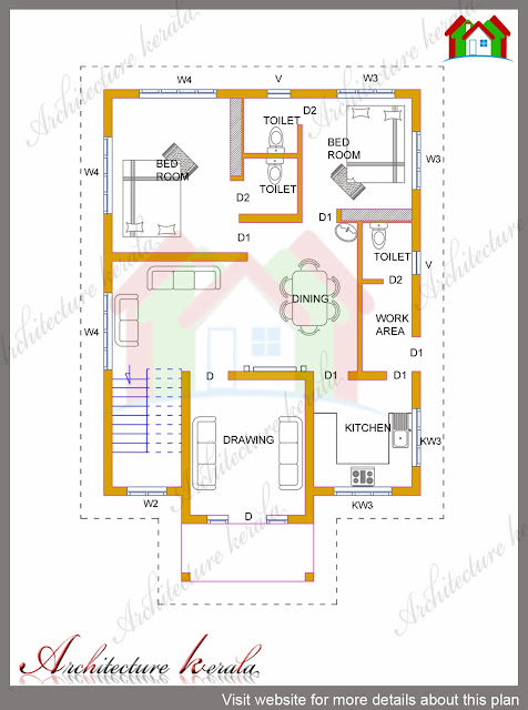 4 bhk kerala house in 1700 square feet architecture kerala for House plans with estimated cost to build in kerala