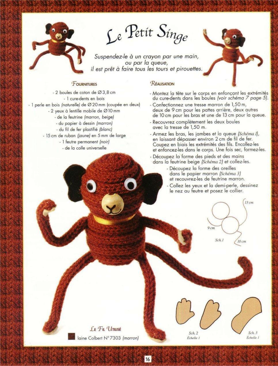 macaco em crochet