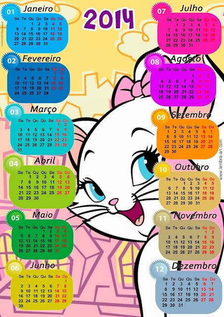 Calendários coloridos 2014 com varios temas