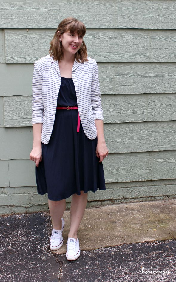 Summer Outfit: knit dress with striped blazer and sneakers | www.shealennon.com