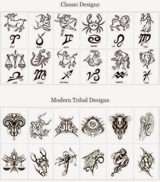 Diseño Tatuaje tribal signos zodiacales set 13