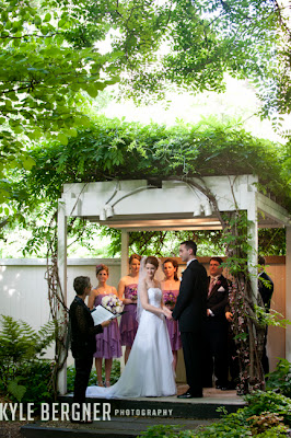 Ceremony in the garden at Chase Court in Baltimore Maryland