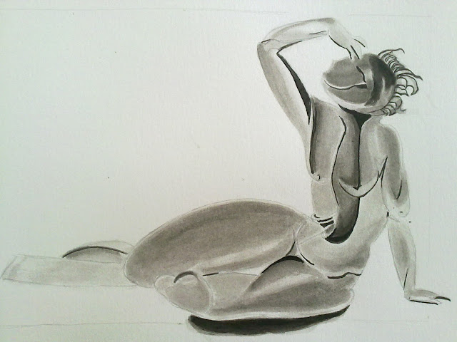 dibujo bacante reclinada