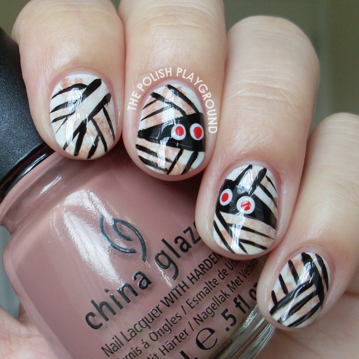 Halloween Inspired Mummy Wrap Nail Art