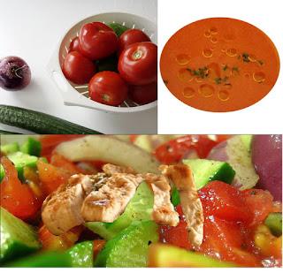 salade au poulet avec gaspacho, tomates, concombre, poivrons