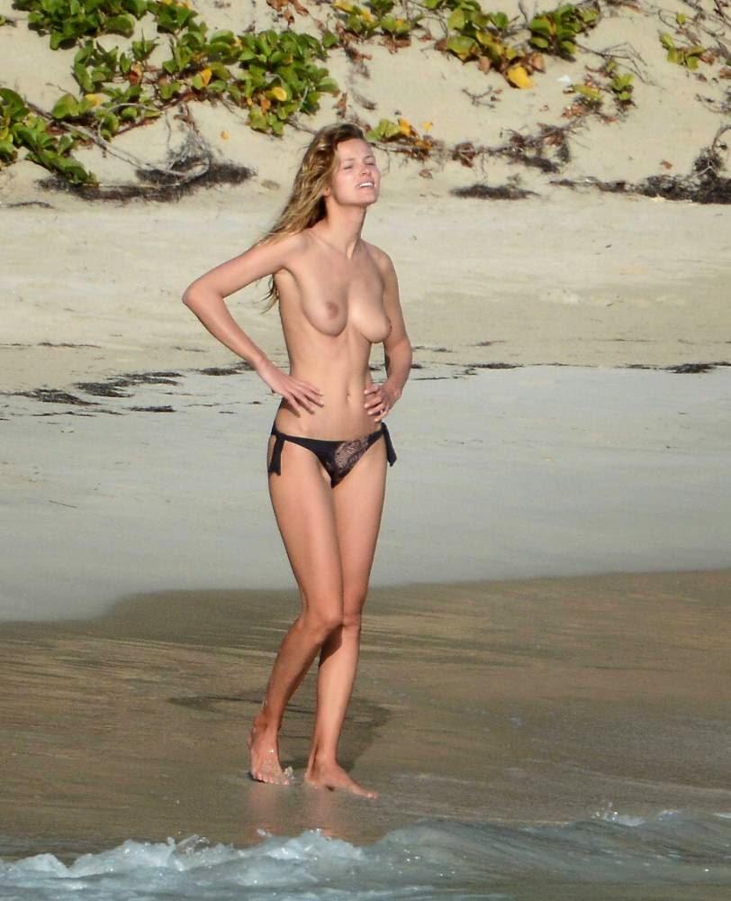 Topless beach selfie