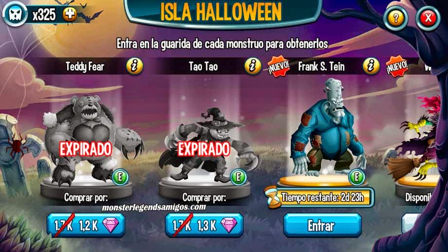 imagen de frank s. tein de la isla halloween de monster legends