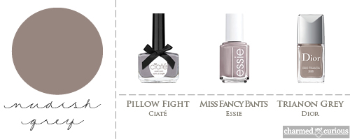 Ciaté Pillow Fight, Essie Miss Fancy Pants, Dior Trianon Grey