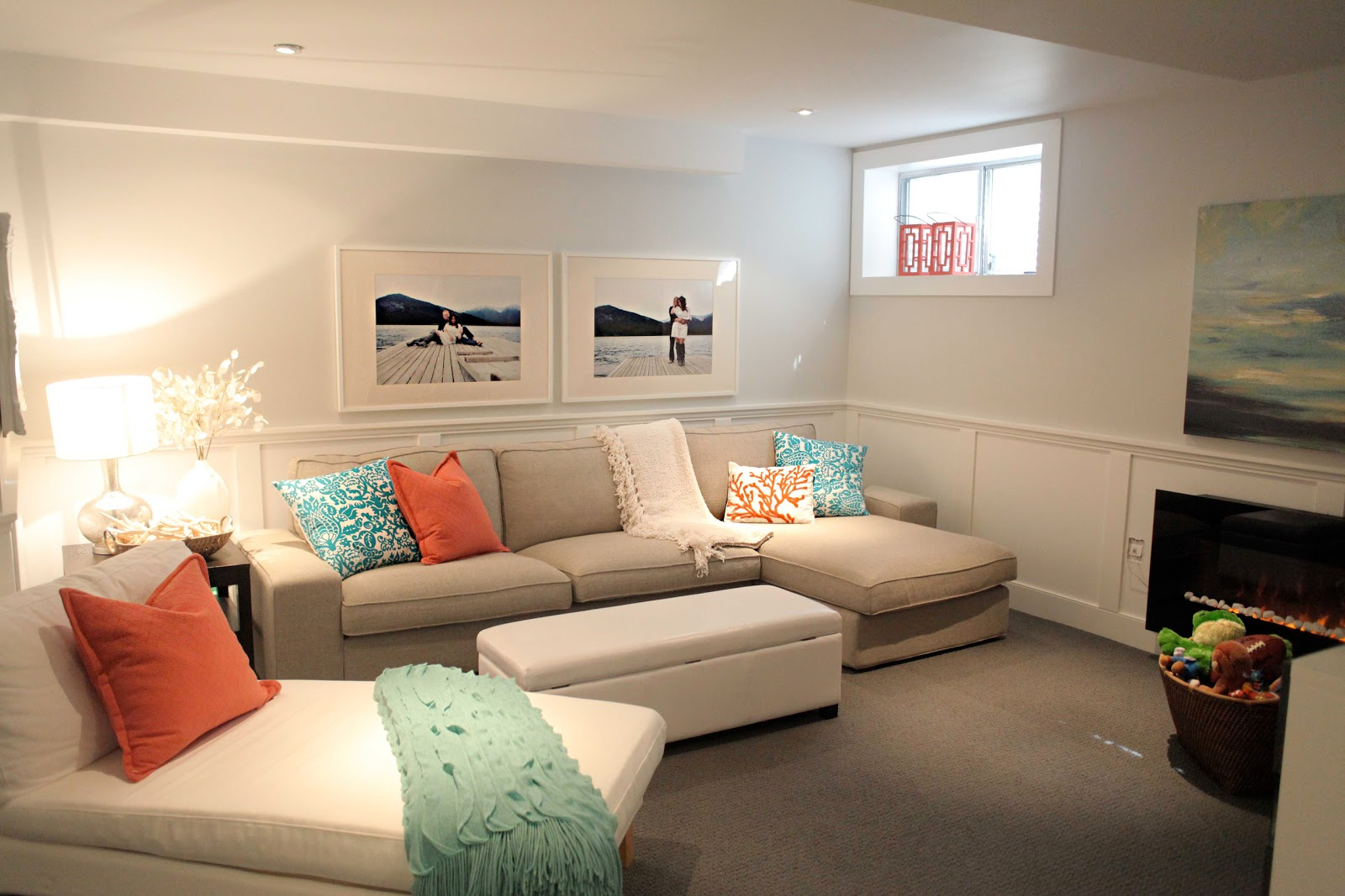 room tour: basement family room! title=