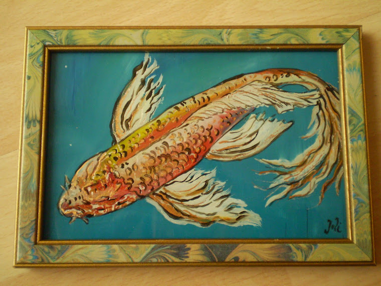 koi fish on glass, oil, signed Joli, 6,8/4,7 in