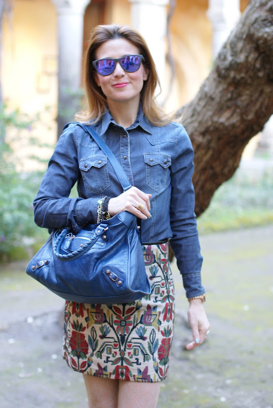 jeans shirt, Zara miniskirt, Balenciaga city bag