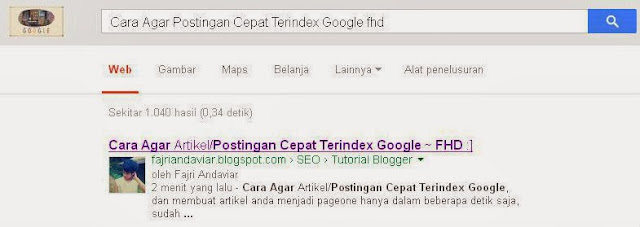 Hasil Submit Artikel setelah 2 menit di search engine