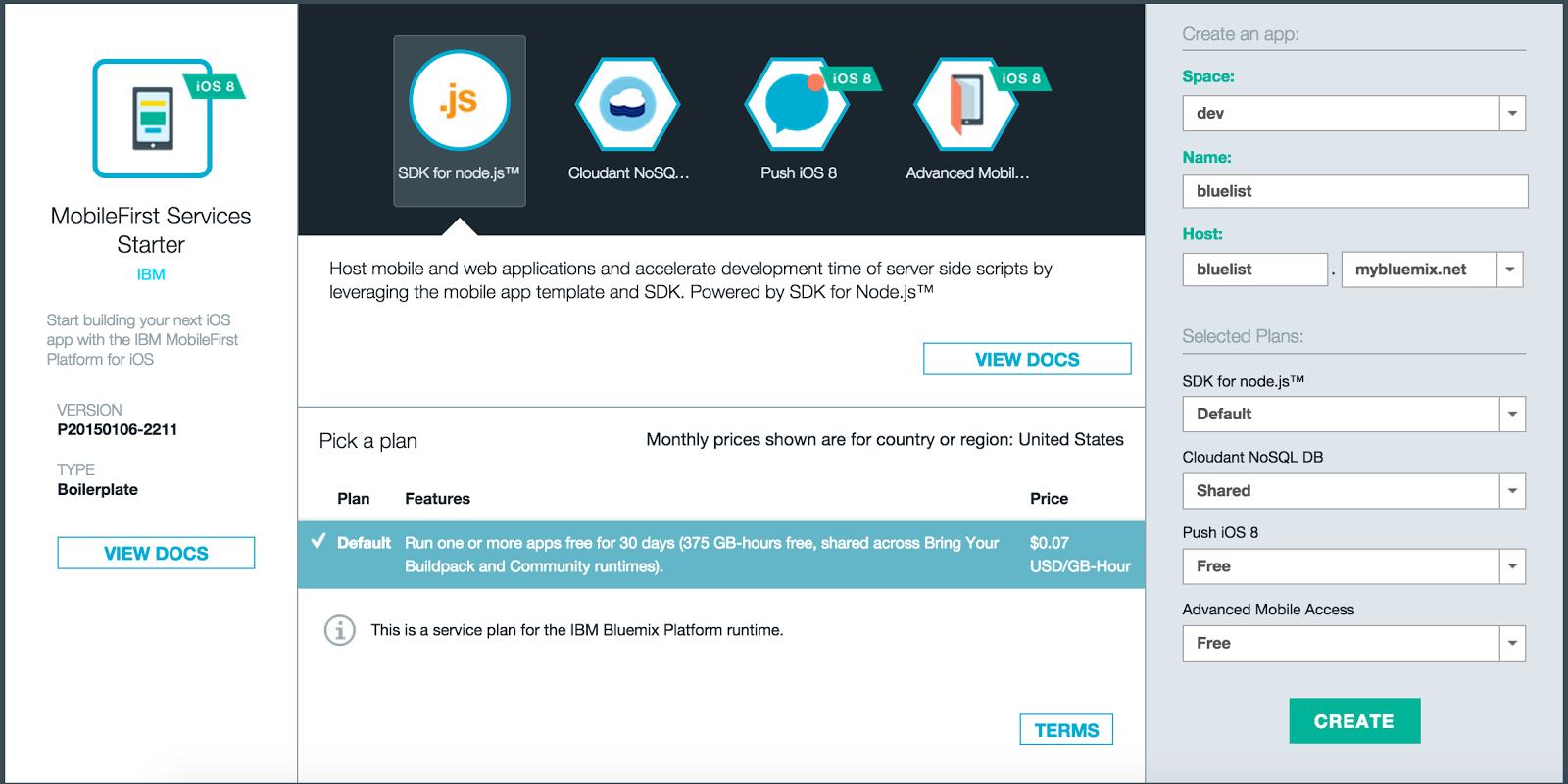 Bluemix Updates: IBM MobileFirst Services Starter