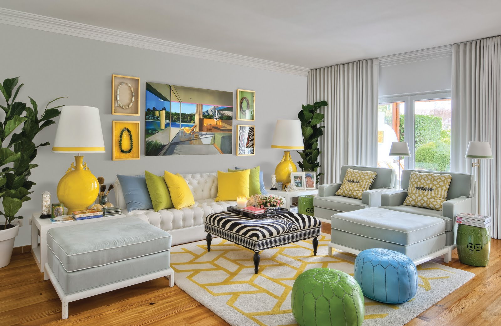 White Collection By Maria Barros 15610 on Yellow And Gray Walls With Teal Accents