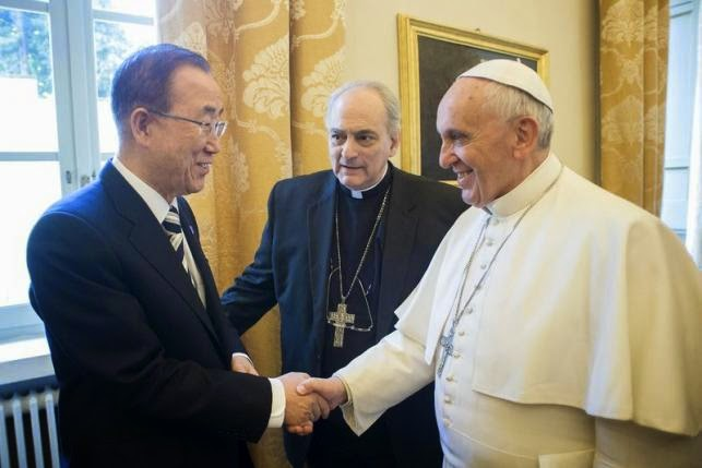 Pope Francis shakes hands with United Nations Secretary-General Ban Ki-moon (L) during a meeting at the Vatican April 28, 2015. (Credit: Reuters/Osservatore Romano) Click to Enlarge.