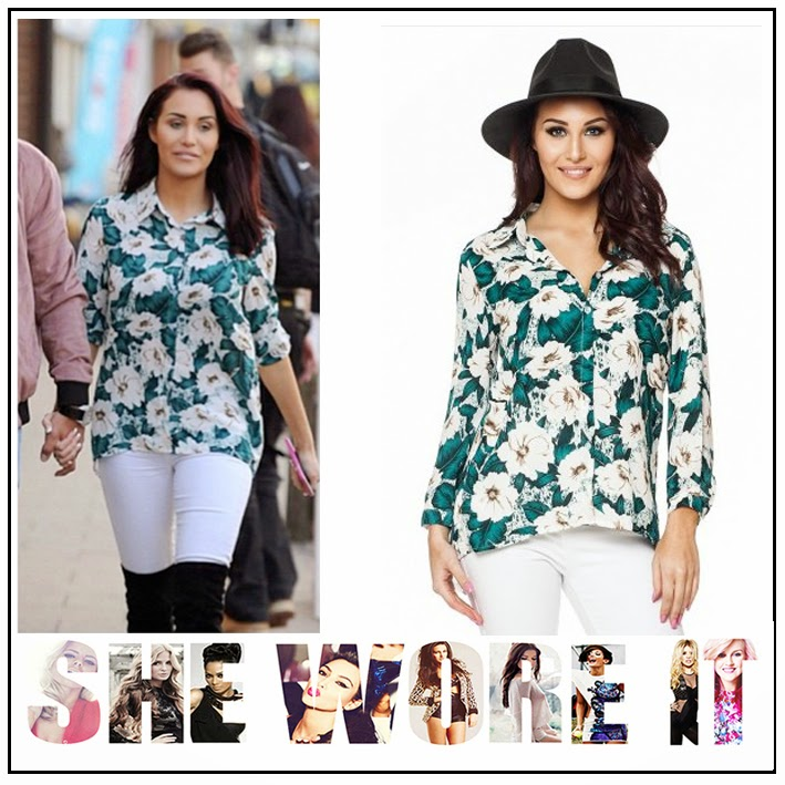 All Over Floral Print, CBB, Celebrity Fashion, Celebrity Style, Chloe Goodman, Collared, Green, Large Floral Print, Shirt, So In Fashion, White, Wrapback,