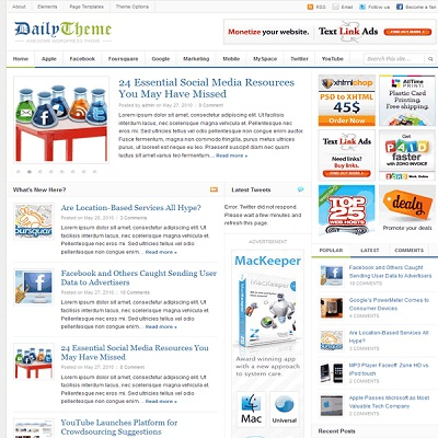 10. Daily v2.0 WP Theme Convert to Blogger Template KLIK & DOWNLOAD