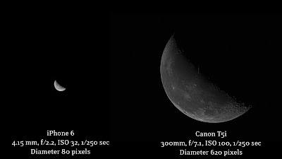 iphone vs dslr moon photo