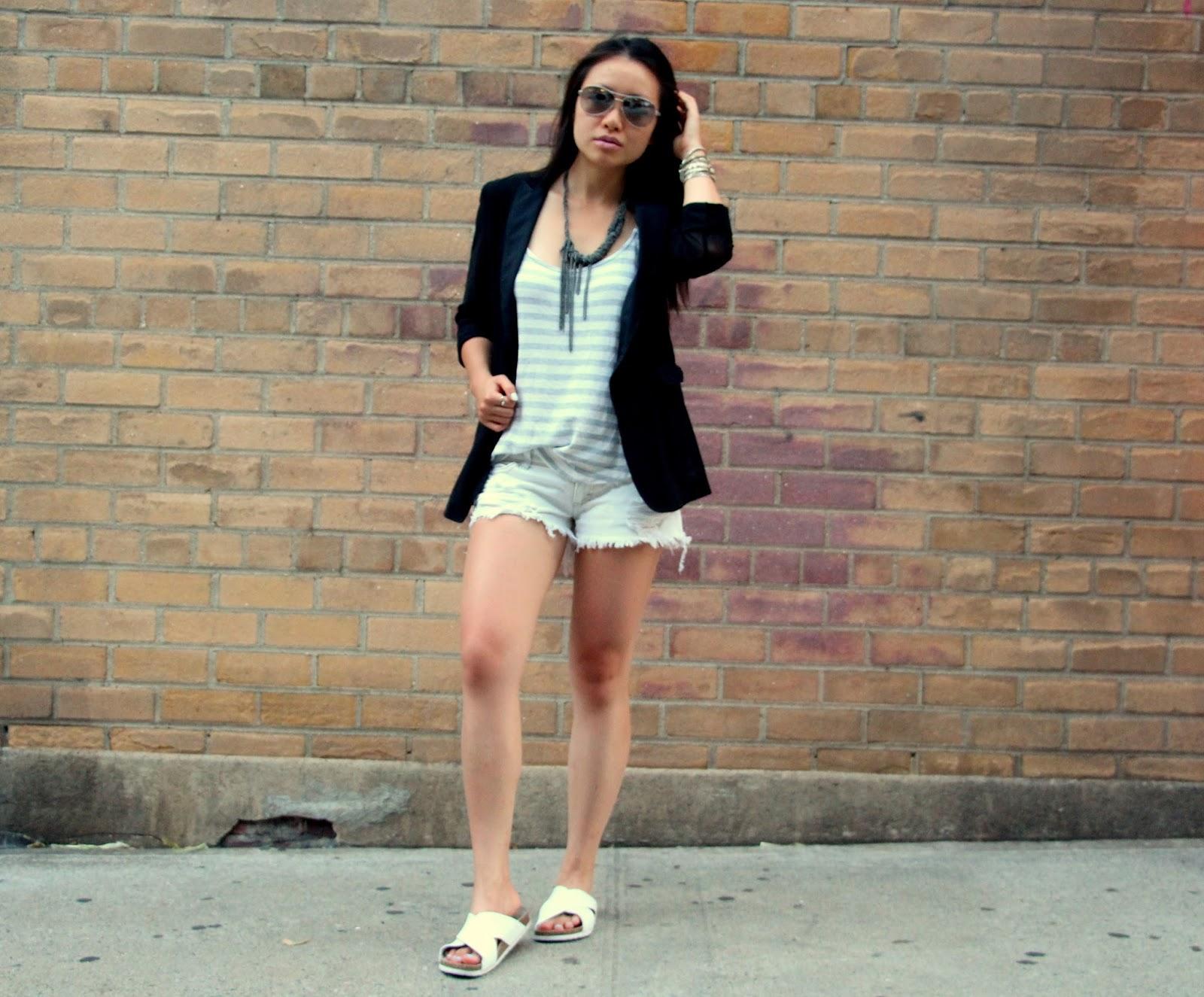 White denim distressed shorts Splendid tank Rag and Bone 42nd st blazer