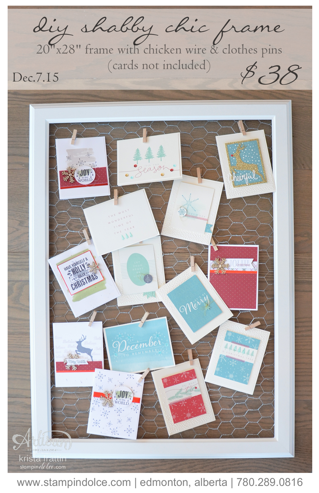 Stampin dolce 12 days of christams day 5 diy shabby chic frame i am offering a class in edmonton on december 7 2015 at 700pm come create this frame for 38 solutioingenieria Images