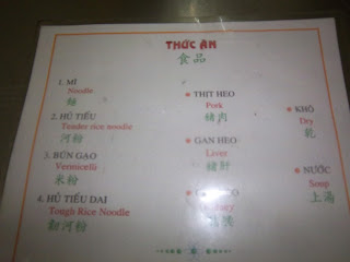 Menu ala Vietnam untung ada bahasa Inggris