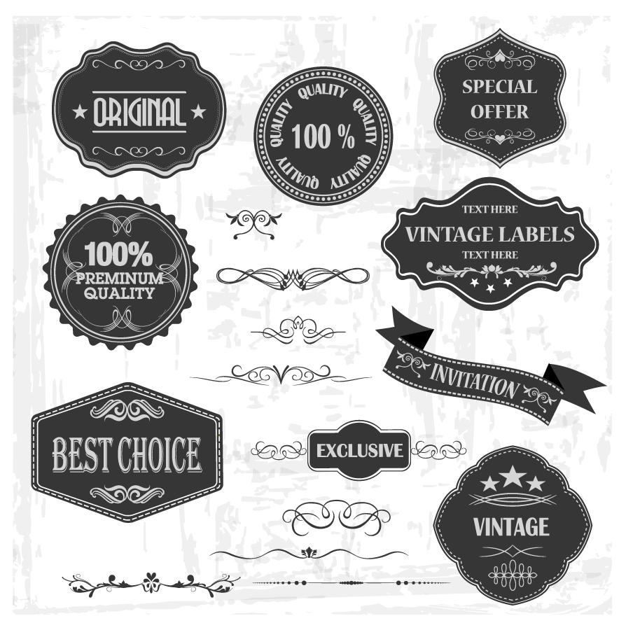 黒い品質保証ラベルのテンプレート Vintage Labels and Ornaments イラスト素材