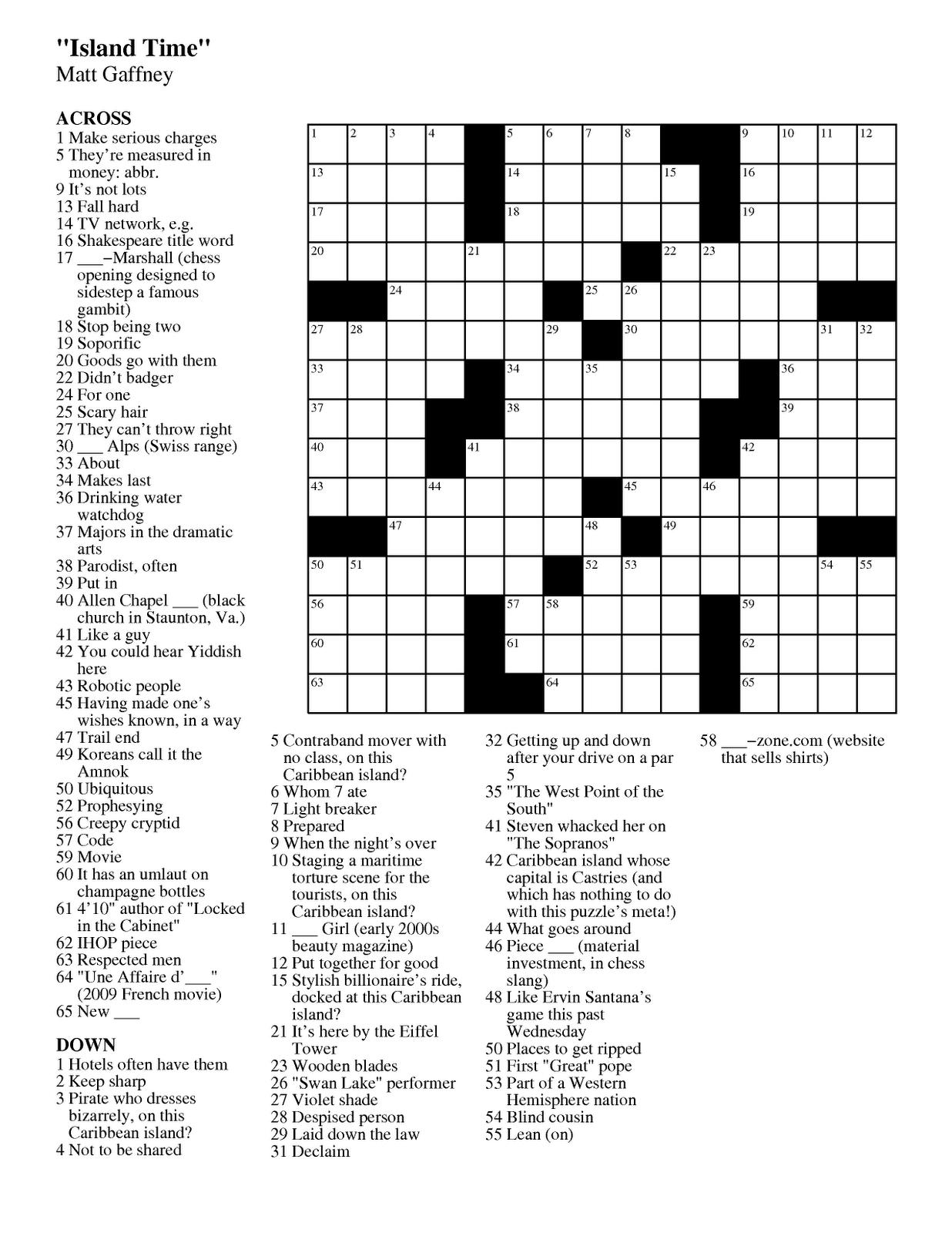 Matt Gaffneys Weekly Crossword Contest July 2011