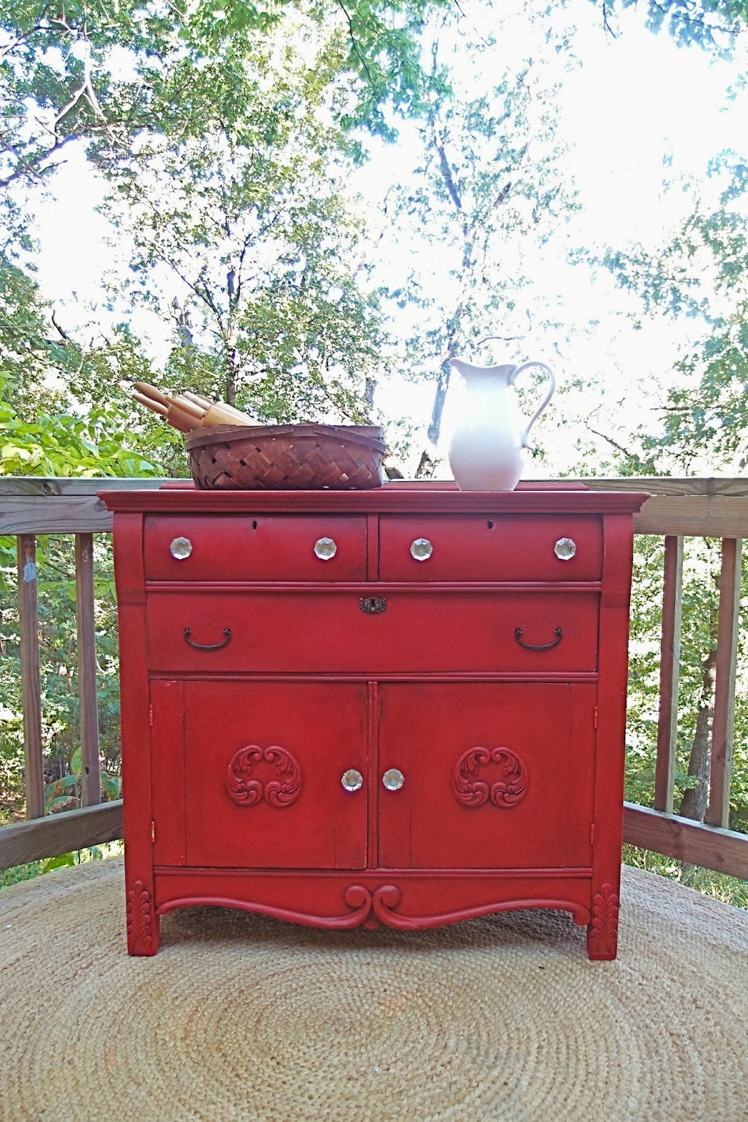Shades of Blue Interiors: A Red Country Cabinet and How to Repair