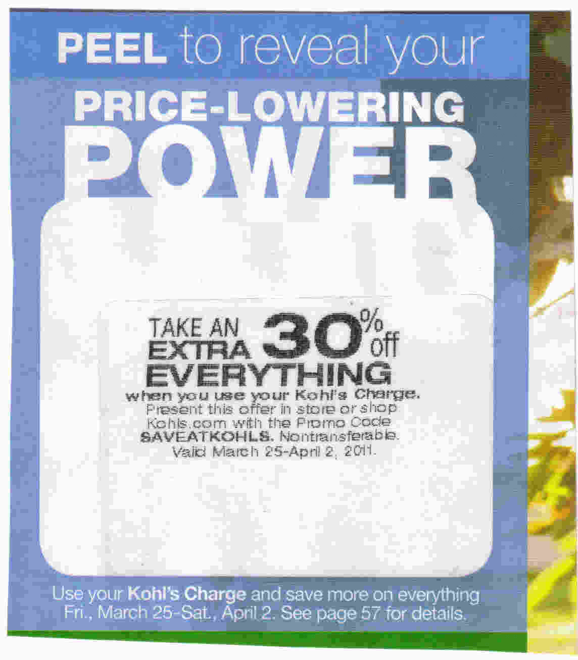 30 coupon kohls code