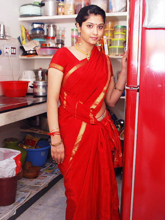 liya sree new red saree glamour  images