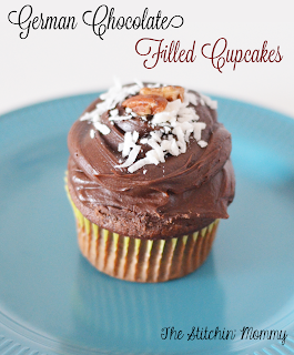 German Chocolate Filled Cupcakes by The Stitchin' Mommy