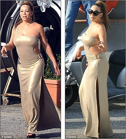 Going bold in gold! Mariah Carey shows off her voluptuous