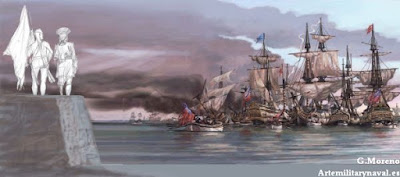 Pintura de la retirada británica de Cartagena de Indias