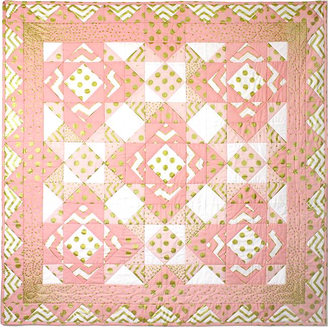 http://www.michaelmillerfabrics.com/inspiration/freequiltpatterns/glitz-pink-quilt.html