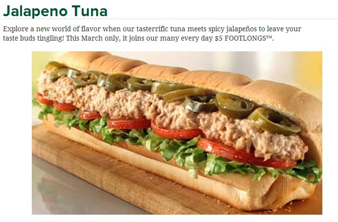 Fast food geek subway 39 s march lineup 5 jalapeno tuna for Tuna fish salad calories